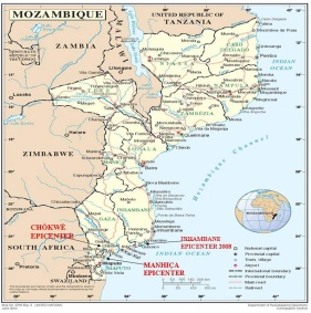 Map of Mozambique, showing Provinces